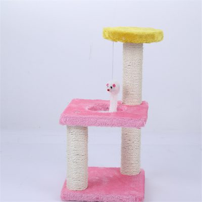 Cat Tree House with Swinging Mouse Scratch Toy