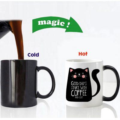 color changing magic mug cat design