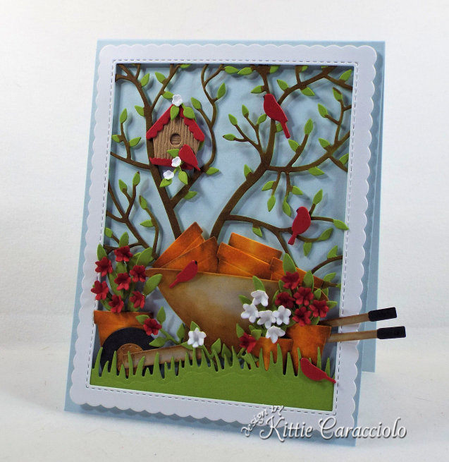 Come check out my handmade die cut garden scene card perfect for a gardener and flower lover.