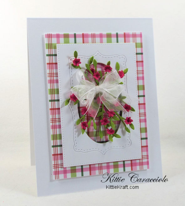 Come see how I made this framed tiny paper flowers card with the colorful plaid background.