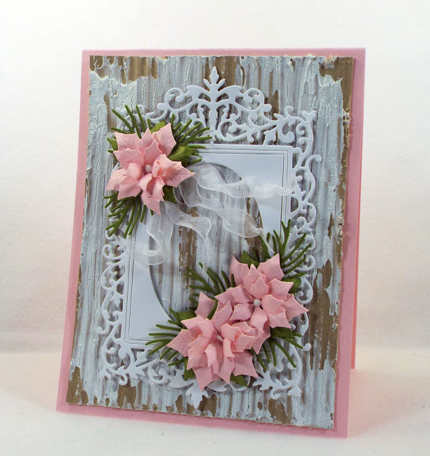 Come see how I made this lovely shabby chic framed poinsettia card.
