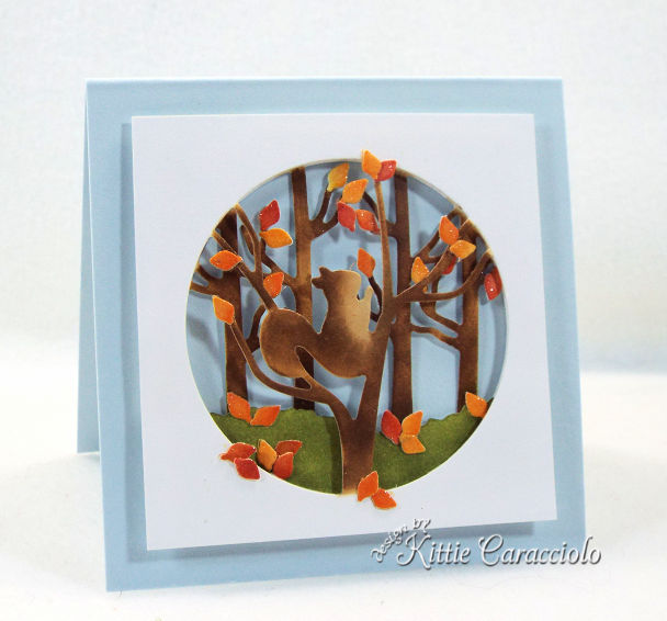 Come see how I made this fall squirrel gift card for the Impression Obsession Fall Winter Die Release.