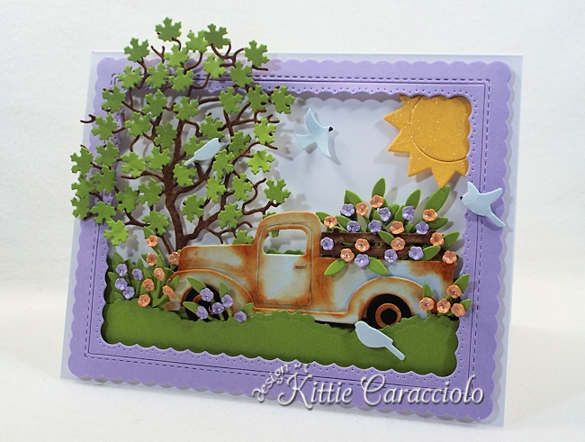 Come and see how I made this die cut truck and flower scene.