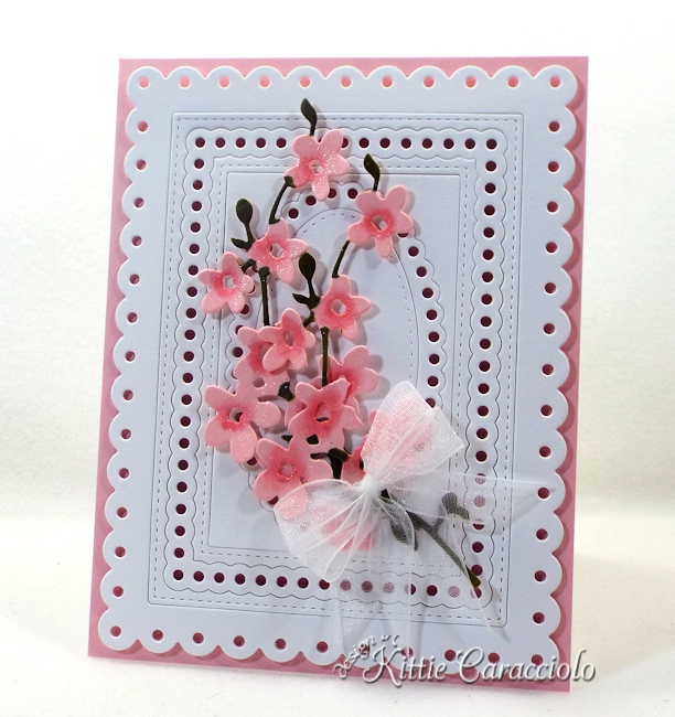 Come see how I made this die cut framed flower stems card.