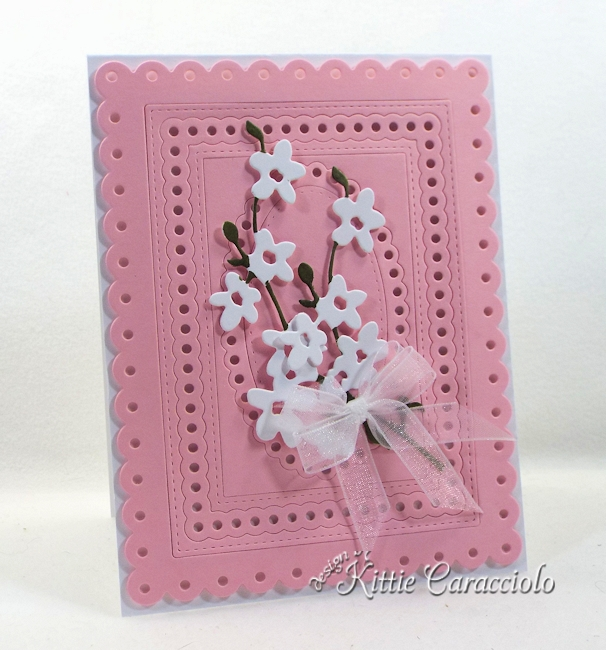 Come see how I made this elegant die cut framed flower stems card.