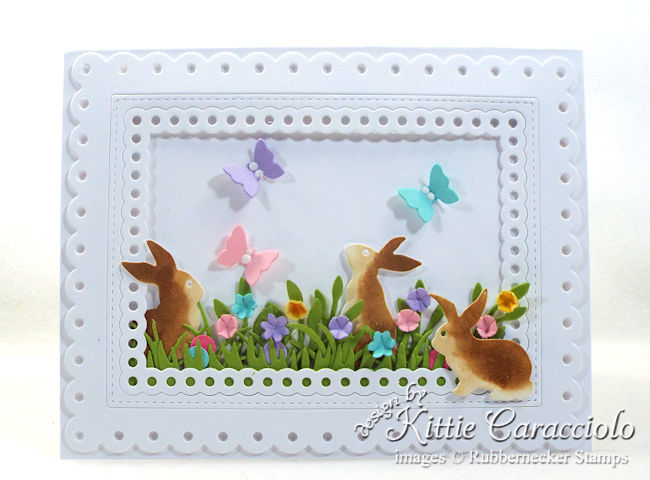 Come over to my blog to see how I made this pretty card with die cut Easter bunnies.