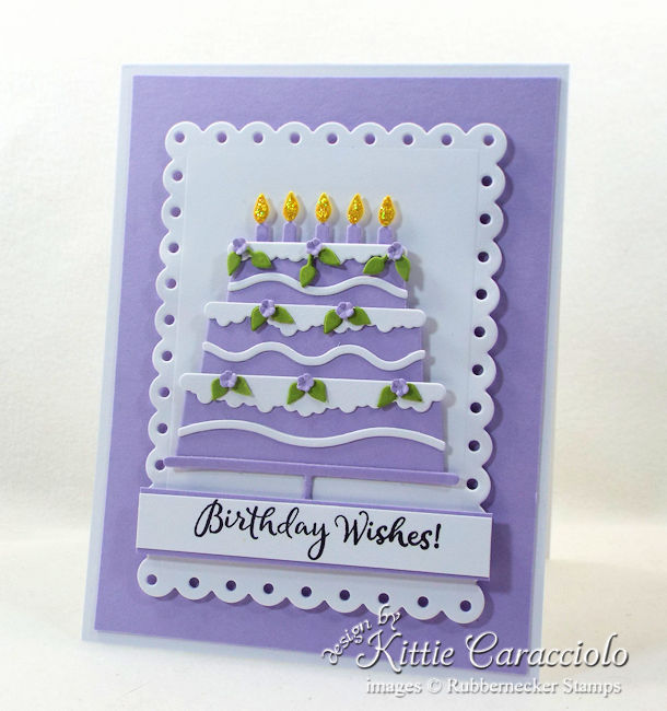 Come see how I mde this pretty die cut birthday cake using Rubberneckers dies.