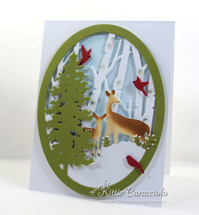 Come over to my blog to see how I made this pretty snowy nature deer scene card.