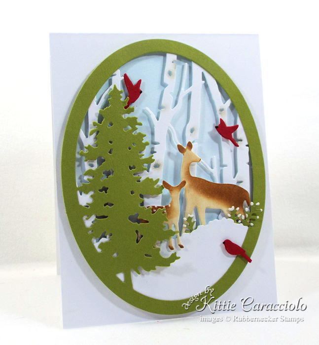 Come over to my blog to see how I made this snowy nature deer scene card.