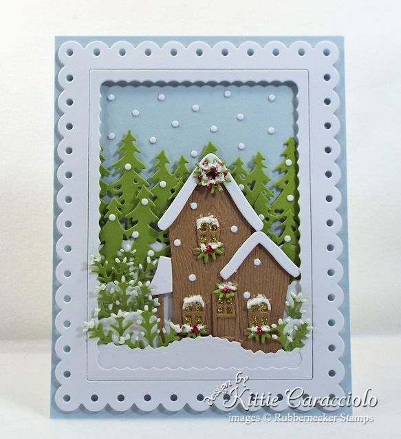 Come see how I made this pretty snowy christmas house scene card.