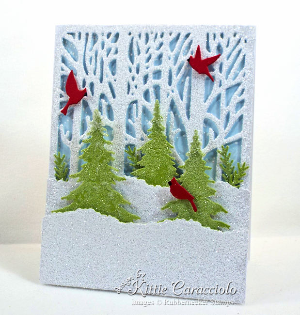 Come see how I made this winter scene Christmas card.