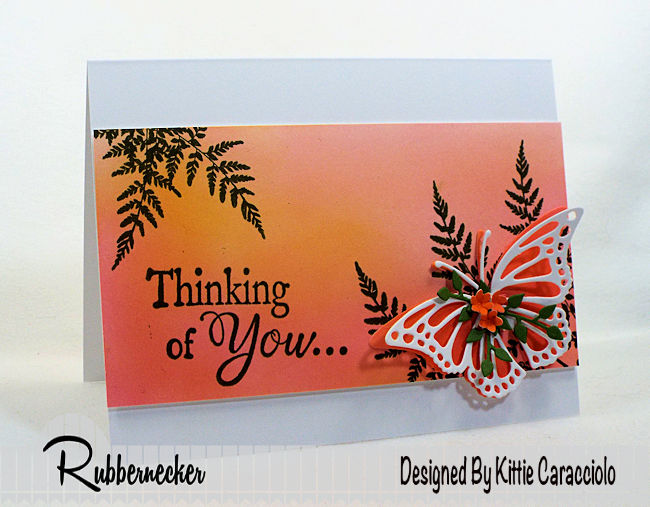 Come check out how I made this prettyl butterfly thinking of you card using stamps and dies made by Rubbernecker Stamps.