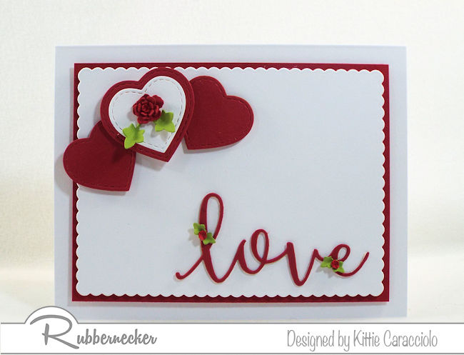 I love the simplity of this red and white hearts and love Valentine card. Click thru to see how I popped up the sentiment.