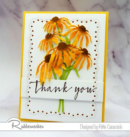 This is one of my new flower cards handmade with all new dies from Rubbernecker - click through to learn more!