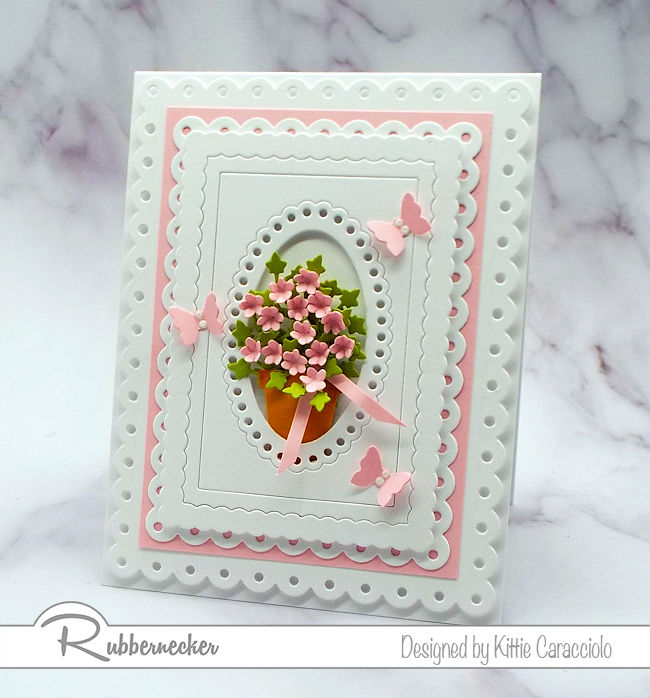 I'm sharing a framed die cut flower pot using several dies by Rubbernecker.  Click on the picture to come over to see how I made this pretty card.