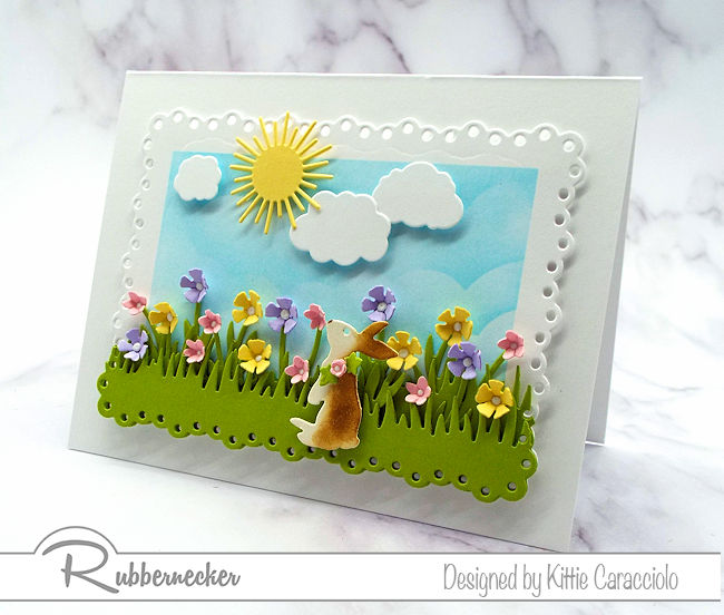 I love making Easter bunny scene cards with lots of flowrs this time of year. Click on the photo to come over and see more details.