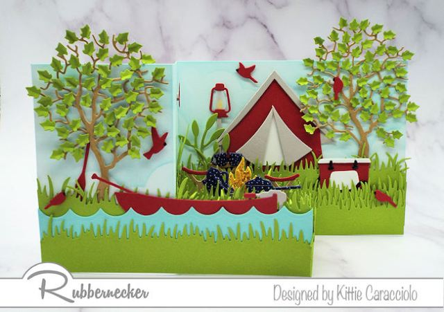 This Z Fold camping card is full of fun die cut images that work together to create an interesting dimensional scene.