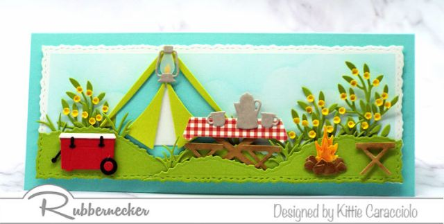 A slimline camping card with all kinds of die cut details in the extra space