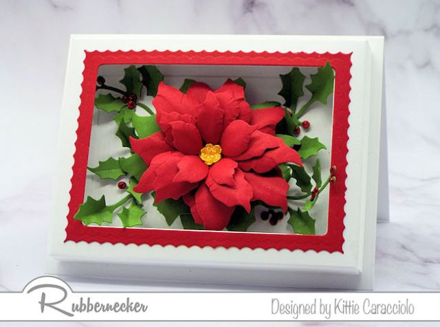 This paper flower shadow box card features this bountiful poinsettia just bursting through the frame - come check out how it was done!