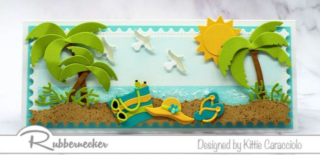 This summer card showing an ocean view was made entirely from carmaking dies
