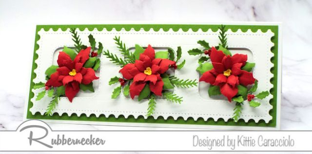 This Slimline Poinsettia Card was made using one of the beautiful new slimline INSERT dies from Rubbernecker - come see the details!