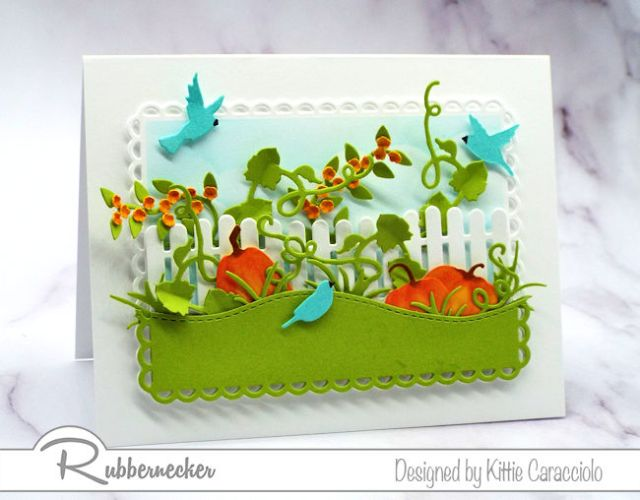 One of my happy fall greeting cards I made using die cuts and ink from Rubbernecker stamps