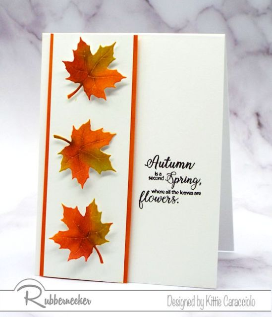 a simple card with vibrant leaves created using inking techniques