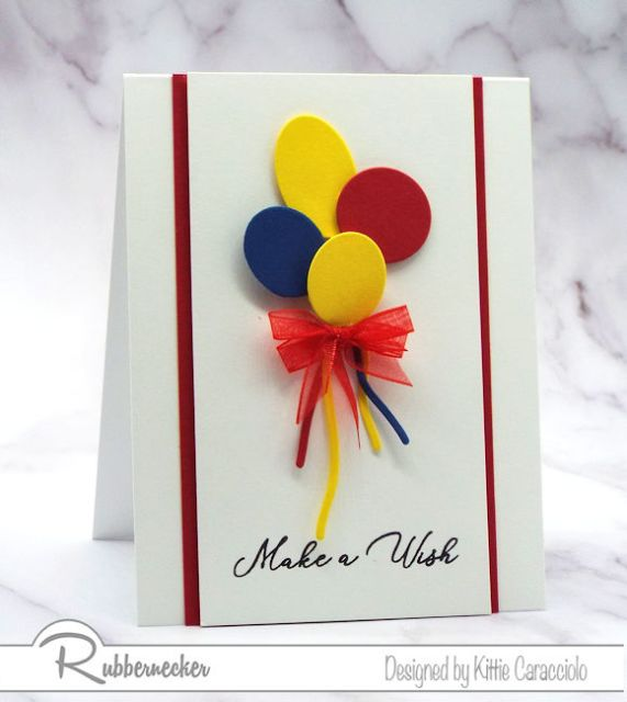 Simple Birthday Card Ideas for handmade greeting cards using die cut balloons and small ribbon bow