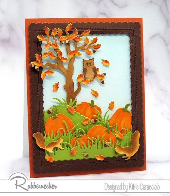 fall cards featuring hand colored and die cut falling leaves, pumpkins, squirrels and an owl in a tree for a classic Fall scene