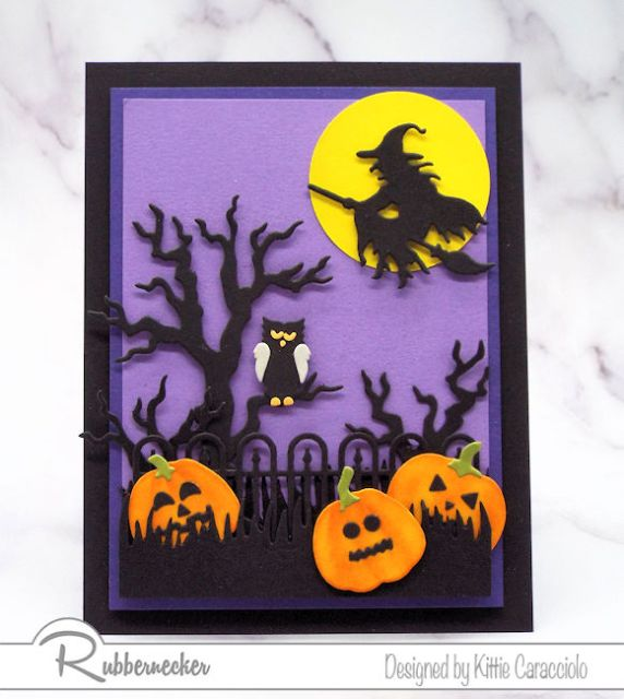 Easy to make spooky halloween cards using several black cardstock die cuts, a bright yellow moon and orange pumpkins
