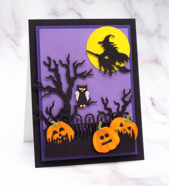 One of my spooky halloween cards made using several black card stock die cuts set against a purple background and a witch against a bright yellow moon