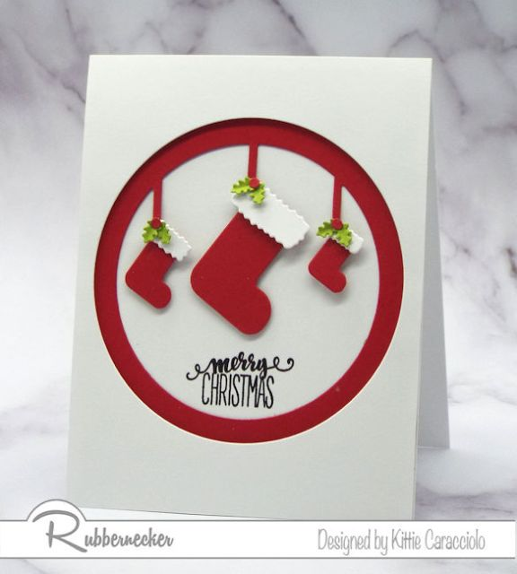 This simple handmade Christmas card with the matted circle frame and stockings is fast and easy for everyone on your list.
