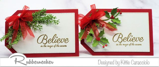 Two easy to make DIY Christmas gift tags featuring small arrangements of die cut greenery and a simple heat embossed greeting