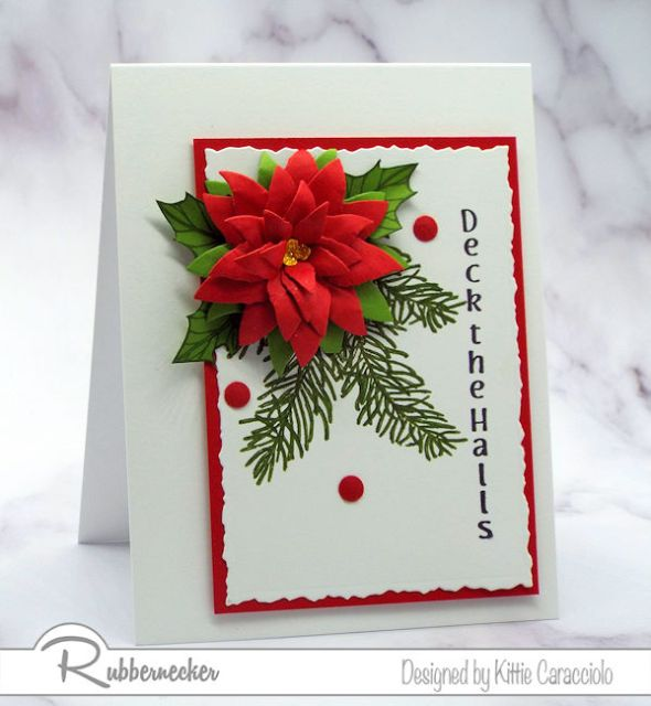 One of my poinsettia Christmas cards featuring one large bloom hand shaped using die cuts from Rubbernecker