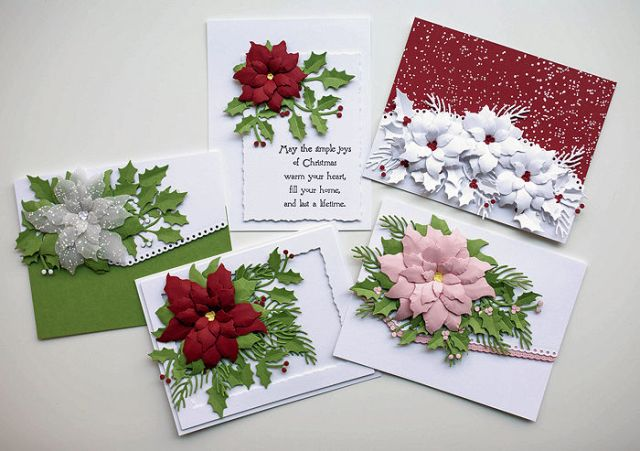 You can learn how to make these pretty Christmas cards by taking the Rubbernecker Poinsettia Online Class.