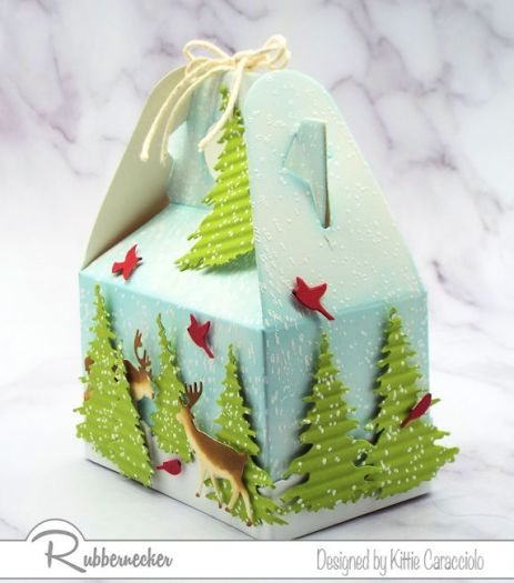 Use this idea for DIY Christmas gift packages for men with the theme of deer and winter pines all made from die cuts from Rubbernecker