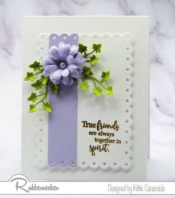 paper flower embellishments made from Rubbernecker die cuts like this beautiful purple bloom are gorgeous enough to stand alone on your cards