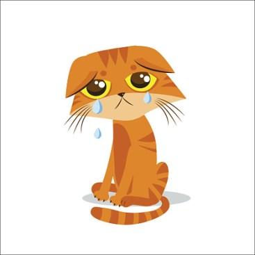 Sad Crying Cat. Cartoon vector illustration.
