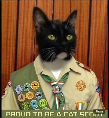 Sampson in His Cat Scout Uniform