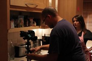 On set of KEEN-wah with camera operator Stuart Dye, looking rather intense Pic: Cat Davies