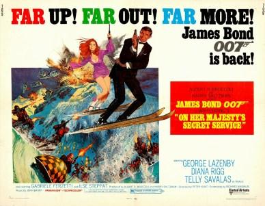 """En poster för filmen """"On Her Majesty's Secret Service"""" med George Lazenby som James Bond."""