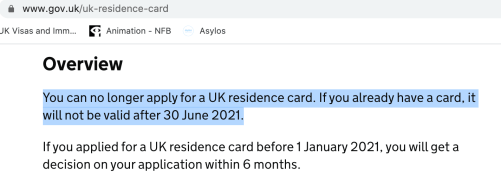 Home Office web page about residence card expiry