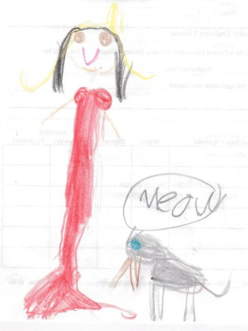 China Rose ~ w/her kitty Ace, hand drawn portrait by Isabella age 6, circa 2010