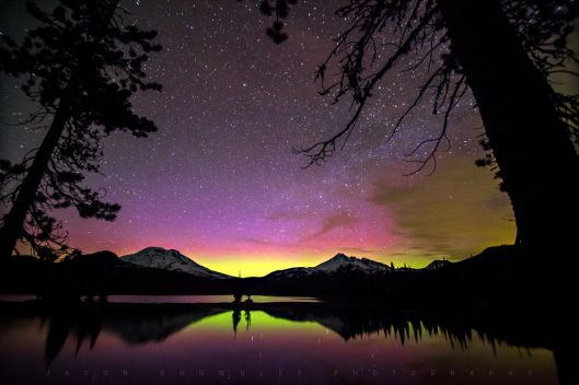 Auroral display Sparks Lake Central Oregon Cascade Mountains