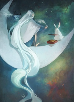 Chang'o, The Moon Goddess and her rabbit