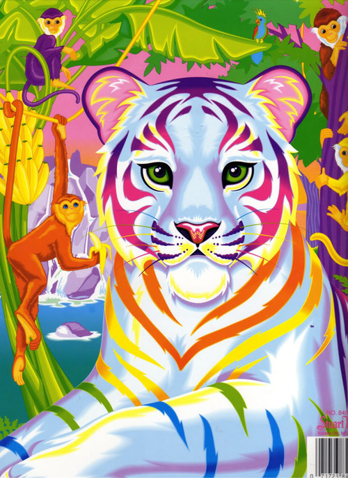 Lisa Frank party paper: rainbow Tiger and Monkeys