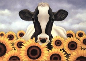 Cow Surrounded by Sunflowers By Lowell Herrero