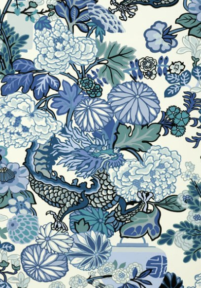 Blue Chang Mai Dragon print