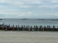 Longtail boats lined up along shore.