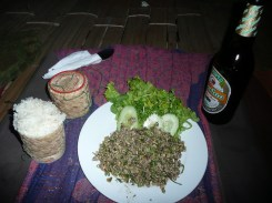 Laap, local Lao dish - strong lemongrass flavor, very tasty
